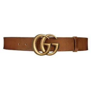 Gucci Wide Brown Leather Marmont Double G Belt
